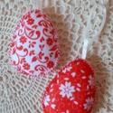 Népies mintás húsvéti tojás szett paprikapiros-fehér (2 db), Húsvéti díszek, Dekoráció, Dísz, Ezt a 2 db-ból álló népies mintájú barkácsfilcből készült, vatelinnel bélelt tojást, hú..., Meska