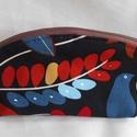 Őszies színvilágú madár-levél mintás neszesszer/ceruzatartó, Ezt a madár-levél mintás bútorvászonból kés...
