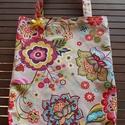 """""""Hippi"""" színes virágmintás bevásárló táska/szatyor , Színes egyéniségeknek ajánlom ezt a beige alap..."""
