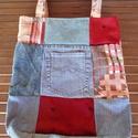 Patchwork: farmer-bordó-drapp újrahasznosított táska/szatyor (külső zsebes), Táska, Divat & Szépség, Táska, Válltáska, oldaltáska, Szatyor, Bevásárláshoz vagy csak úgy a hétköznapokra ajánlom, ezt az újrahasznosított anyagokból patchwork te..., Meska