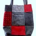 Patchwork:  farmer-bársony-kárpit újrahasznosított táska/szatyor (külső zsebes), Táska, Divat & Szépség, Táska, Szatyor, Bevásárláshoz vagy csak úgy a hétköznapokra ajánlom, ezt az újrahasznosított anyagokból patchwork te..., Meska