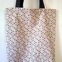 Drapp alapon szívecske mintás táska/szatyor , Stop műanyag! Használj textiltáskát a bevásá...