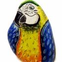 Papagáj , Dekoráció, Otthon, lakberendezés, Dísz, Kerti dísz, Festett tárgyak, Festészet, Kőre festett Ara papagáj.  Méret:13*8*7 cm, Meska