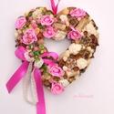 Rózsás vintage - tavaszi termés - szív, Otthon, lakberendezés, Dekoráció, Dísz, Mindenmás, Virágkötés, Rózsák rózsaszínben :) Az utolsó képen látható pasztell-rózsaszín árnyalatban is szívesen elkészíte..., Meska