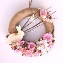 Rózsaszín nyuszifészek - tavaszi-húsvéti ajtódísz - KÉSZTERMÉK, Otthon, lakberendezés, Dekoráció, Dísz, Mindenmás, Virágkötés, Szalmakoszorú alapomat zsákvászonnal borítottam, és termésekkel, ágakkal, virágokkal, apró tojásokk..., Meska