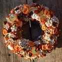 Narancs lepkék - termés-koszorú - KÉSZTERMÉK, Otthon, lakberendezés, Dekoráció, Dísz, Ajtódísz, kopogtató, Mindenmás, Virágkötés, Festett fa pillangók a főszereplői ennek a kopogtatónak. Narancsbarna színekben, de fehérített term..., Meska