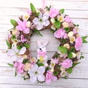 Virágba borulva - tavaszi-húsvéti termés-koszorú - KÉSZTERMÉK, Otthon, lakberendezés, Dekoráció, Dísz, Ajtódísz, kopogtató, Kivirágzott terméskoszorú finom tavaszi árnyalatokkal, mosolygó nyuszival és pici elbújtatott..., Meska