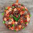 Egy csokor tulipán - selyemvirágos tavaszi-nyári termés-koszorú - KÉSZTERMÉK, Otthon, lakberendezés, Dekoráció, Dísz, Ajtódísz, kopogtató, Mindenmás, Virágkötés, Egy kis csokor apró piros tulipánt ültettem az ajtódísz közepére, és narancsos-piros, tüzes, nyári,..., Meska