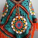 Bohókás Poncsó, Ruha, divat, cipő, Női ruha, Poncsó, Horgolás, Tavaszi színekkel készítettem ezt a mandala ihlette poncsót.  Méretei:  eleje 60 cm + 13 cm rojt  l..., Meska