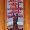 Tűzzománc kép , Képzőművészet, Dekoráció, Kép, A zománc mérete: 200mmx100mm. A keret fa 25mm széles. Teljes mérete:330mmx280mm., Meska