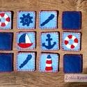 Filc memóriajáték - fiús tengerész mintával, Gyereknap, Játék, Készségfejlesztő játék, Társasjáték, Varrás, Teljes mértékben kézzel készült memóriajáték fiús/pasis mintával. Tartós anyag, előnye a papírhoz k..., Meska
