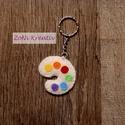 Filc kulcstartó, táskadísz - festőpaletta, Dekoráció, Mindenmás, Dísz, Kulcstartó, Varrás, Kulcstartó vagy táskadísz filcből. Festőpaletta forma. Mérete kb. 5 cm.  A palettán látható színek:..., Meska