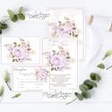 Rózsás Esküvői meghívó - Visszajelző kártyával Online szerkeszthető szöveggel  , Esküvő, Meghívó, ültetőkártya, köszönőajándék, Papírművészet, Rózsaszín Rózsás Esküvői meghívó + Visszajelző kártya -  Nyomtatott vagy digitális formátum (Saját ..., Meska