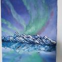 Aurora borealis, Művészet, Festmény, Olajfestmény, Festészet, Feszített 40X50-es vászonra készített olajfestmény., Meska