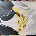 Orchidea, Művészet, Festmény, Olajfestmény, Festészet, 18X24 cm-es festővászonra készített olajfestmény. A tartó állványt a képpel együtt adom., Meska