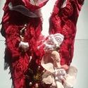 Tüzes galagonya textil nyakék, Ékszer, Nyaklánc, Ékszerkészítés, Varrás,  az ősszel beérő vörös galagonya ihlette finom szaténból készült romantikus textil nyaklánc, nagyon..., Meska