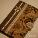 Barokk textil füzetborító (tejeskávé 01) , Naptár, képeslap, album, Jegyzetfüzet, napló, Varrás, Remek ajándék lehet ez a A/5-ös méretű, 80 lapos spirálfüzetre készült textilborító, melybe tetszés..., Meska