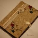 Barokk textil füzetborító (vaj sárga 01), Naptár, képeslap, album, Jegyzetfüzet, napló, Remek ajándék lehet ez a A/5-ös méretű, 80 lapos spirálfüzetre készült textilborító, melybe tetszés ..., Meska