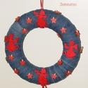 Karácsonyi kopogtató, Dekoráció, Ünnepi dekoráció, A legújabb trend szerint készült kopogtató alapja egy pihekönnyű hungarocell koszorú, mely farmer bo..., Meska