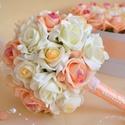 Hódító Varázslat Csokor, Esküvő, Dekoráció, Esküvői csokor, Csokor, Virágkötés, Finom pasztel elegáns színekből állítottam össze ezt a csodás örökrózsa gömb csokrot.  Exkluzív szí..., Meska