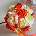 Narancs kis dobócsokor , Esküvő, Esküvői csokor, Meghívó, ültetőkártya, köszönőajándék, A mini dobócsokrot  narancs,pisztácia zöld kicsi habrózsákból készítettem. Ízléses apró gyöngyfejek ..., Meska