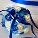 Mini dobcsokor kék, Esküvő, Esküvői csokor, Esküvői dekoráció, A mini dobócsokrot  fehér-középkék -világoskék mini habrózsákból készítettem. Ízléses ..., Meska