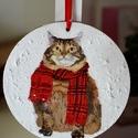 Gombóc cica, Dekoráció, Otthon, lakberendezés, Ajtódísz, kopogtató, Kerek mini kopogtató.Gombóc cicával. 12cm átmérője, Meska