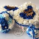 Kék garnitúra, Esküvő, Esküvői csokor, Esküvői dekoráció, Meghívó, ültetőkártya, köszönőajándék, A tengervíz színei ihlették a királykék, világoskék, vízkék,hófehér habrózsákból kész..., Meska