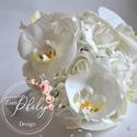 Luxus hófehér orchidea, Esküvő, Esküvői csokor, Esküvői ékszer, Menyasszonyi ruha, Élethű orchidea fejekből és hófehér habrózsákból készült az örök varázslatosan pazar e..., Meska