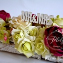 Fakéreg asztaldísz, Esküvő, Dekoráció, Esküvői dekoráció, Esküvői csokor, Fakéreg asztaldísz,babarózsa selyem és habrózsákból készült.Más színben is kérhető., Meska