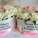 Szülőköszöntő szöveges virágboxok, Esküvő, Esküvői csokor, Meghívó, ültetőkártya, köszönőajándék, Esküvői dekoráció, Egyedi szöveges örök emlékként megőrizhető virágboxok.Vőlegény a menyasszony szülei rész..., Meska