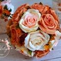 Rozsdabarna Romantika csokor, Esküvő, Otthon & lakás, Esküvői csokor, Dekoráció, Virágkötés, Minőségi selyemvirágokból készült az exkluzív menyasszonyi csokor. Romantikus kis őszi bogyós termé..., Meska