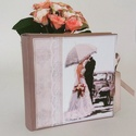 Esküvői fényképalbum, Naptár, képeslap, album, Fotóalbum, Közepes méretű, 100 db 10x15 cm-es fotó befogadására alkalmas fényképalbumot készítettem. Az albumot..., Meska