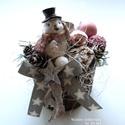 Karácsonyi asztaldísz No2, Dekoráció, Ünnepi dekoráció, Karácsonyi, adventi apróságok, Karácsonyi dekoráció, A karácsonyi asztalra vagy ajándéknak is kedves látvány ez a duci madárral komponált asztaldísz. :) ..., Meska