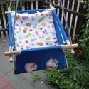 100 % pamut kék-tengeri, Baba-mama-gyerek, Játék, Kerti játék, Famegmunkálás, Varrás, Erős vászonból készül ez a baba hinta, mely születéstől használható 25 kg-ig.  NAGY MÉRETŰ!!! 50 cm..., Meska