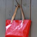 Valódi bőr Bevásárlótáska, piros, Valódi bőr táska. Piros színű. A táska belse...