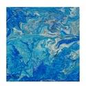 Tenger- 30 x 30 cm-es pouring akril festmény, Otthon & lakás, Képzőművészet, Festmény, Akril, Festészet, 30 x 30 cm-es pouring akril festmény, vászonra. A színkavalkádot a kék árnyalatai teszik igazán egy..., Meska