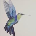 Kolibri - A4 giclée művészi nyomat (akvarell festményem nyomán), Képzőművészet, Otthon, lakberendezés, Festmény, Akvarell, Festészet, Kolibri - A4 giclée művészi nyomat (akvarell festményem nyomán)  Akvarell festményemről készített, ..., Meska