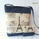 Párizs- válltáska pénztárcával, Táska, Válltáska, oldaltáska, Pénztárca, tok, tárca, Rendelésre készítem  ezt a táskát hozzáillő pénztárcával.   Csodás hangulatú szett kék ..., Meska