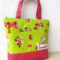 Minnie egeres táska hímzett névvel , Táska, Válltáska, oldaltáska, Minnie egeres anyagot ( amerikai pamut) párosítottam piros pöttyössel. A név gépi hímzéssel készült...., Meska