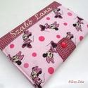 Minnie egeres  egészségügyi kiskönyv borító hímzett névvel , Naptár, képeslap, album, Jegyzetfüzet, napló, Varrás, Patchwork, foltvarrás, Patenttal záródó Minnie egeres eü. kiskönyv borító, designer pamut anyagokból.  A név felirat gépi ..., Meska