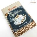 Névre szóló kávés napló , Naptár, képeslap, album, Jegyzetfüzet, napló, Varrás, Patchwork, foltvarrás, Designer pamut anyagokból készült napló, jegyzetfüzet.  A kávés blokk applikálva lett a napló elejé..., Meska