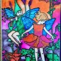 Zenélő tündérek, Otthon & lakás, Dekoráció, Képzőművészet, Festmény, Festészet, Üvegművészet, Üvegfestett kép, zenélő tündérek táméval. Speciálisan üvegfestésre kifejlesztett kontúrfestékkel és..., Meska