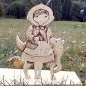 Piroska és a farkas, Játék, Fajáték, Készségfejlesztő játék, Famegmunkálás, Juharfából készített égetőpákával rajzolt 20 darabos kirakó. A puzzle méretei 29 cm magas, 18 cm sz..., Meska