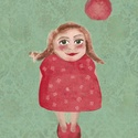 Piros ruhás kislány grafika, Művészet, Grafika & Illusztráció, Festészet, Fotó, grafika, rajz, illusztráció, A4-es print 210 g/m2-es prémium matt fotópapíron. A printet keret nélkül küldöm. Minden grafikám di..., Meska
