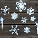 Horgolt hópehely és jégcsap, Karácsonyi, adventi apróságok, Ajándékkísérő, képeslap, Karácsonyfadísz, Karácsonyi dekoráció, Horgolás, Horgolt hópihék és jégcsapok, amelyek igazán egyedivé teszik a karácsonyt: díszíthetjük vele karács..., Meska