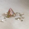 Csillámos háromszög, Ékszer, Gyűrű, Ékszerkészítés, Háromszög alapú gyűrű, melynek odalai 2cm hosszúak. A gyűrű a szivárvány összes színében csillámlik..., Meska