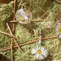 Százszorszép szett, Ékszer, Ékszerszett, A szetthez egy állítható nagyságú gyűrű és egy ezüst színű alapra szerelt kör alakú (kb..., Meska