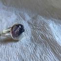 Ametiszt gyűrű, Ékszer, Gyűrű, Apró ametiszt ásványok, a gyűrű nagysága állítható, Meska