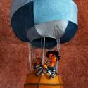 Légballon két figurával, Otthon & Lakás, Dekoráció, Függődísz, Papírművészet, Újrahasznosított alapanyagból készült termékek, Ez a légballon,vidám dísze lehet egy gyerekszobának,lakásnak. A ballon alapja drót váz,amire színes..., Meska